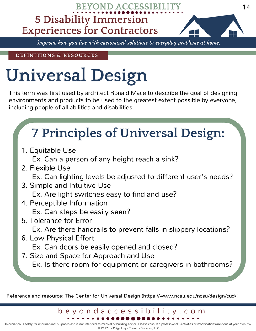 Free Printable Handout About Universal Design, Barrier Free Design,  Visitability, And Life Time Home.